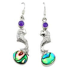 Clearance Sale- alone paua seashell 925 sterling silver fish earrings d3313
