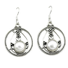 ver natural white pearl round dangle earrings jewelry d3318