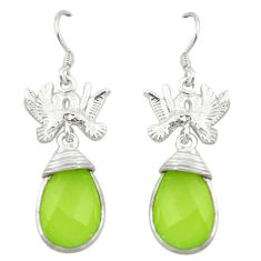 Natural green prehnite 925 sterling silver love birds earrings jewelry d3382