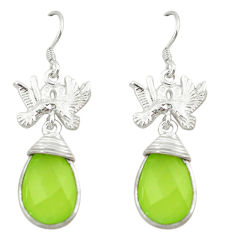 Clearance Sale- 925 sterling silver natural green prehnite love birds earrings jewelry d3384