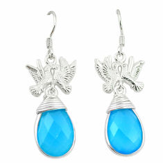 ver natural blue chalcedony love birds earrings jewelry d3387
