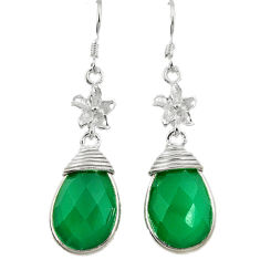 Clearance Sale- Natural green chalcedony 925 sterling silver dangle earrings jewelry d3412