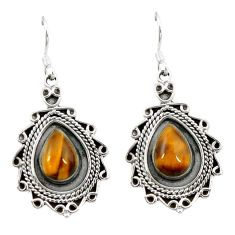 925 sterling silver natural brown tiger's eye dangle earrings jewelry d3452
