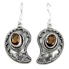 Clearance Sale- Brown smoky topaz 925 sterling silver dangle earrings jewelry d3461