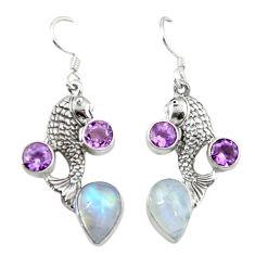 Natural rainbow moonstone purple amethyst 925 silver dangle earrings d3463