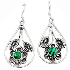 Clearance Sale- Natural green malachite (pilot's stone) 925 silver dangle earrings jewelry d3466