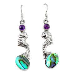 alone paua seashell 925 silver fish earrings jewelry d3482