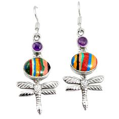 Clearance Sale- Natural multi color rainbow calsilica 925 silver dragonfly earrings d3484