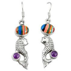 Clearance Sale- Natural multi color rainbow calsilica amethyst 925 silver fish earrings d3485