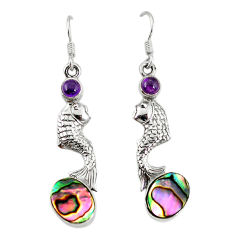 Clearance Sale- alone paua seashell 925 sterling silver fish earrings d3490