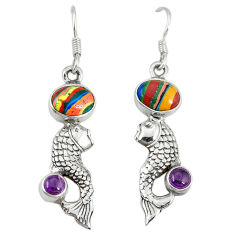 Natural multi color rainbow calsilica amethyst 925 silver fish earrings d3492