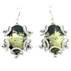 Pyrite in magnetite (healer's gold) 925 silver dangle earrings jewelry d4492