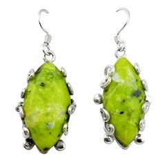 Natural yellow lizardite (meditation stone) 925 silver dangle earrings d4499