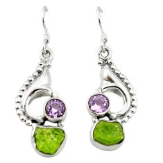 Clearance Sale- Natural green peridot rough amethyst 925 silver dangle earrings jewelry d4521