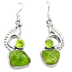 Clearance Sale- Natural green peridot rough peridot 925 silver dangle earrings d4526