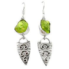 Clearance Sale- Natural green peridot rough 925 sterling silver dangle earrings d4528