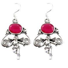 Clearance Sale- ruby quartz angel wings fairy earrings d4570
