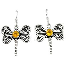Clearance Sale- 925 sterling silver natural yellow citrine dragonfly earrings jewelry d4600