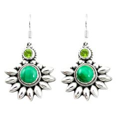 925 silver natural green malachite (pilot's stone) dangle earrings d4656