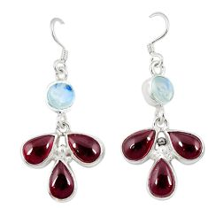 Clearance Sale- Natural red garnet moonstone 925 sterling silver dangle earrings d4665