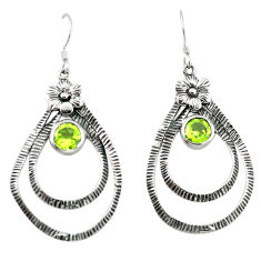 Clearance Sale- Natural green peridot 925 sterling silver flower earrings jewelry d4681
