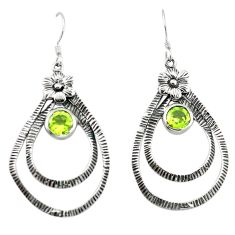 Clearance Sale- Natural green peridot 925 sterling silver flower earrings jewelry d4682