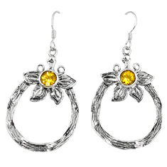 Clearance Sale- Natural yellow citrine 925 sterling silver flower earrings jewelry d4687
