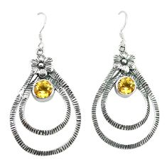 Clearance Sale- Natural yellow citrine 925 sterling silver flower earrings jewelry d4689