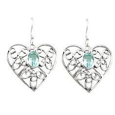 Clearance Sale- 925 sterling silver natural blue topaz heart dangle earrings jewelry d4690