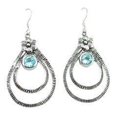 Clearance Sale- Natural blue topaz 925 sterling silver flower earrings jewelry d4694