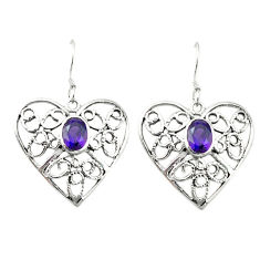 Clearance Sale- Natural purple amethyst 925 sterling silver dangle earrings jewelry d4700
