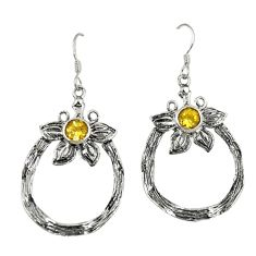 Natural yellow citrine 925 sterling silver flower earrings jewelry d4727