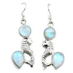 moonstone 925 sterling silver fish earrings jewelry d4738