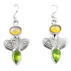 Clearance Sale- lor ethiopian opal 925 silver couple hearts earrings d4793