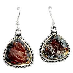 Clearance Sale- Natural red garnet rough 925 sterling silver dangle earrings jewelry d4811