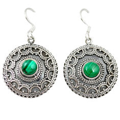 Clearance Sale- Natural green malachite (pilot's stone) 925 silver dangle earrings jewelry d4814