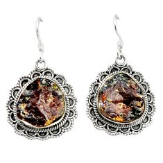 Natural red garnet rough 925 sterling silver dangle earrings jewelry d4816