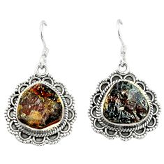 Natural red garnet rough 925 sterling silver dangle earrings jewelry d4818