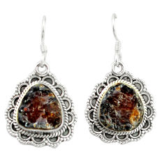 Clearance Sale- Natural red garnet rough 925 sterling silver dangle earrings jewelry d4819