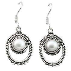 Clearance Sale- ver natural white pearl round dangle earrings jewelry d4832
