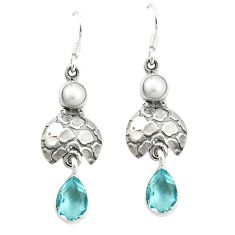 Clearance Sale- ver natural blue topaz white pearl dangle earrings d4859