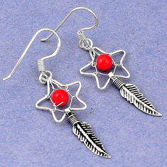 Clearance Sale- Red coral 925 sterling silver dreamcatcher earrings jewelry d5067