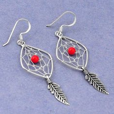 Clearance Sale- 925 sterling silver red coral round dreamcatcher earrings jewelry d5069