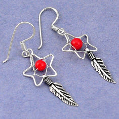 Clearance Sale- Red coral 925 sterling silver dreamcatcher earrings jewelry d5091