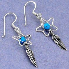 Clearance Sale- Fine blue turquoise 925 sterling silver dreamcatcher earrings d5093