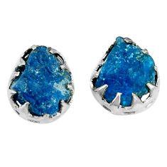 Blue apatite rough 925 sterling silver stud earrings jewelry d5210