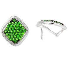 Clearance Sale- 925 silver natural green chrome diopside stud earrings jewelry d5524