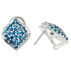 Clearance Sale- Natural london blue topaz 925 sterling silver stud earrings jewelry d5533