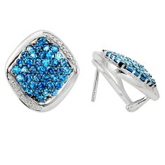 Clearance Sale- 925 sterling silver natural london blue topaz stud earrings jewelry d5539