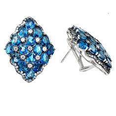 Clearance Sale- Natural london blue topaz white topaz 925 sterling silver stud earrings d5549